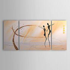 Pintados à mão pintura a óleo com moldura esticada Abstract - Conjunto de 3 – BRL R$ 248,00