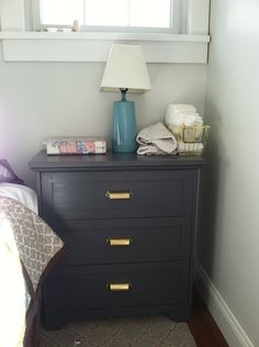 IKEA Rast hack from The House Of Lists - traditional style with brass bin pulls