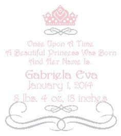 Once Upon a Time Princess Cross Stitch Pattern / Birth Record | sherryshouse - Patterns on ArtFire