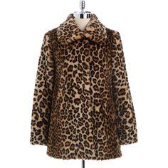 Portrait Leopard Print Faux Fur Coat ($130) ❤ liked on Polyvore