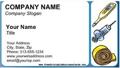 A thermometer, syringe, and bandage are featured on this Home Health Business Card. Home health aides, private nurses, and other caregivers (as well as sellers of medical supplies) will find this card fits their needs. Free to download and print