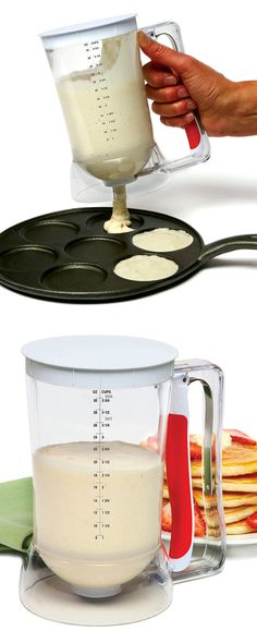 Batter Dispenser - Mixes and dispenses batter in one, preventing waste and mess - simply squeeze the handle to distribute batter! Clever kitchen gadget. #product_design