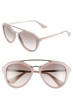 Free shipping and returns on Prada 54mm Retro Sunglasses at Nordstrom.com. A retro-inspired silhouette gets a contemporary update thanks to a subtly angular frame in a muted spring hue and a polished metal browline. Gradient lenses finish this sophisticated style.