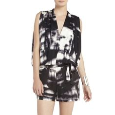 BCBG River Romper Satin printed romper. Vneck with draped sleeve. Cinched waist with self tie. BCBGMaxAzria Other