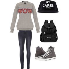 School by alannaxjonnesx on Polyvore featuring polyvore, fashion, style, Markus Lupfer, Frame Denim, Converse and Sherpani