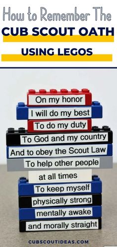 Learning the Boy Scout and Cub Scout Oath and Law of the Boy Scouts of America is fun for boys and girls when you use Legos! This fun Scout Oath and Law game is a great gathering activity. It also works just about any time during your den meeting. If you have enough sets, you can use it for pack meetings too. #CubScouts #CubScout #Scouting #Webelos #ArrowOfLight #ScoutOath #ScoutLaw #ScoutOathAndLaw #CubScoutIdeas