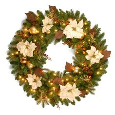 Have to have it. 36 in. Decorative Collection Inspired by Nature Pre-Lit Christmas Wreath - $129.99 @hayneedle