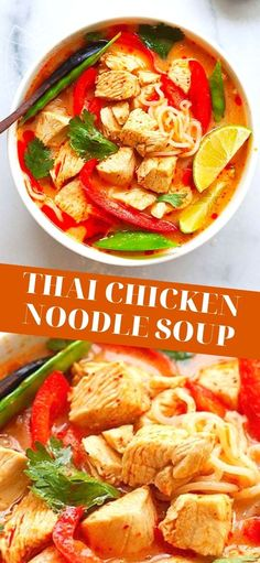 Most Delicious Recipe, Delicious Dinner Recipes, Asian Recipes, Healthy Recipes, Ethnic Recipes, Easy Recipes, Thai Chicken Noodles, Chicken Soup, Weeknight Meals