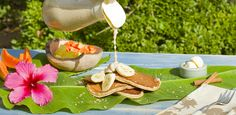 Banana Macademia Nut Pancakes with Macademia Nut Syrup from Hey Good Cookin'  #breakfast