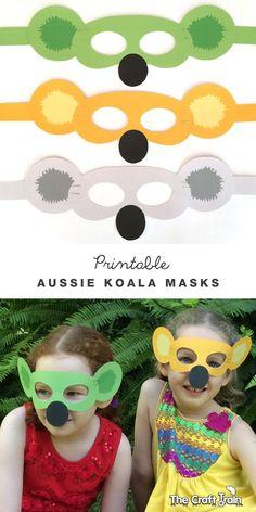 Printable Australian koala animal masks - for some Aussie fun this Australia day. Animal Activities, Preschool Crafts, Preschool Activities, Animal Crafts For Kids, Toddler Crafts, Australia Crafts, Australia Day Craft Preschool, World Thinking Day, Anzac Day