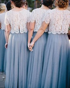 Hochzeit Skylar Skirt in Tulle Bridesmaid Separates Two Piece Bridesmaid Dresses, Tulle Skirt Bridesmaid, Bridesmaid Separates, Lace Bridesmaids, Bridesmaid Outfit, Bridesmaid Gowns, Tulle Wedding Skirt, Bridesmaid Ideas, Lace Dress