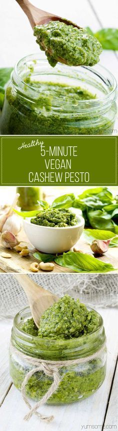 My healthy vegan cashew pesto is one of the simplest - and most delicious - things you can make for your pasta. It's also fantastic on baked potatoes, crostini, or even as a dip for chips and (Vegan Dip Easy) Vegan Sauces, Raw Vegan Recipes, Vegan Foods, Vegan Dishes, Veggie Recipes, Whole Food Recipes, Vegetarian Recipes, Cooking Recipes, Healthy Recipes