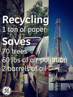 RECYCLE: The average American uses over 700 lbs of paper every year. Recycling 1 ton of paper saves: 70 trees, 60 pounds of air pollution, and 2 barrels of oil. Our Planet, Save The Planet, Planet Earth, Green Life, Go Green, Recycling Facts, Recycling Projects, Recycling Quotes, Science Projects