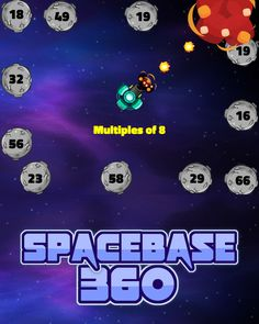 Pick your base and then watch out for asteroids on all side. Solve inequalities, blast factors, multiples, or odd and even numbers to progress through each level. Stay alert, the further you get, the faster the asteroids will travel in this online space game. Asteroids Game, Space Games, Kindergarten Games, Educational Games For Kids, Numbers, Base, Play, Watch, Travel