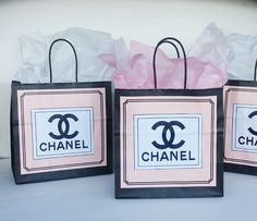 CHANEL Inspired GIFT BAGS Pink Black Coco Chanel by 222LaneDecor, $1.75