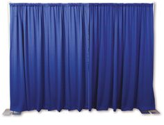 A Pipe and Drape Backdrop Kit from OnlineEEI in royal blue.