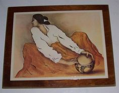 "RARE R C Gorman ""Pottery Keeper"" Laminated Print on Wood Art Tile Display 