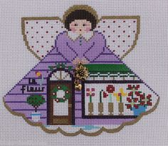 Painted Pony Designs Flower Shop Angel 996GZ Hand Painted Needlepoint Canvas