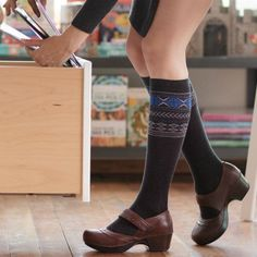 f169278cc0f3a Compression Socks in Stylish Fair Isle. In 4 sizes including Wide Calf for  those who like a little extra room. Buy today at Ease Living