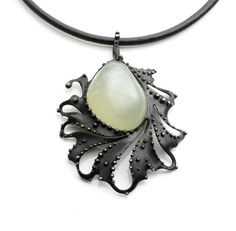Prehnite Scrolling Leaf Necklace on Leather Cord. by OlivOva