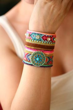 Made to Order/OOAK SS13 Luxury Swarovski Friendship Bracelet Jewelry wide Cuff,bohemian indian gypsy style,Ethnic boho