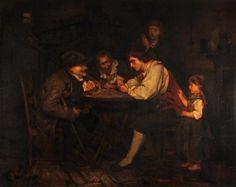 """Knaus, Ludwig (1829 Wiesbaden - 1910 Berlin), zugeschrieben, """"Die Falschspieler"""", Öl auf Leinwand, — Gemälde, Alte Meister, Neue Meister, Moderne, Zeitgenossen, Ölgemälde"""