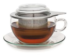 Jumbo Cup & Infuser: Stylish and large, this is big enough for 10oz of tea. It comes with a matching glass saucer and lid. The sturdy metal infuser is the perfect way to prepare tea right in the cup.
