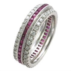 Stackable idea of bands: two white gold prong set eternity bands and one ruby channel set eternity band. Sold separately or as a set. Priced upon request.