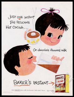 1956 Mary Blair little girl boy art Bakers Instant chocolate milk cocoa print ad