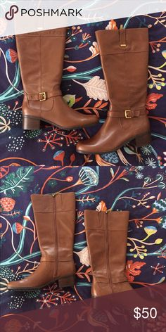 Bandolino Boots Wide calf. Cognac, leather riding boots. 1.5 inch heel. Never been warn. Bandolino Shoes Heeled Boots