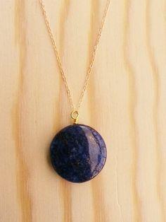 Azul y Oro  Lapiz Lazuli Disc Bead on 14K by FaitMainDesigns, $32.00