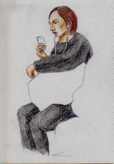 黒い服のお姉さん(通勤電車でスケッチ)This is a woman of sketch wearing the black clothes. I drew in a commuter train.