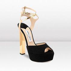 Jimmy Choo Lolita Black and Gold Suede Mirror Leather Platform Sandals JCS6028