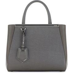 Fendi 2Jours Petite Saffiano Satchel Bag ($2,015) ❤ liked on Polyvore featuring bags, handbags, dark gray, leather tote handbags, genuine leather purse, fendi purses, tote purses and leather tote bags