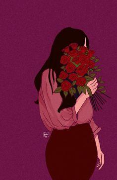 Love for Roses in 2019 Cute Girl Wallpaper, Cute Wallpaper Backgrounds, Cute Wallpapers, Art Anime, Anime Art Girl, Photo Profil Facebook, Girly Drawings, Digital Art Girl, Rose Art