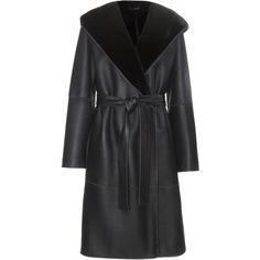 The Row Mosira Reversible Fur-Lined Leather Coat (£4,460) ❤ liked on Polyvore featuring outerwear, coats, blue, reversible coat, leather coat, fur lining coat, blue leather coat and fur lined leather coats