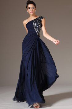 Online Shop Dark Blue Chiffon Evening Gowns,One Shoulder Mermaid Evening Dresses,Black Lace Applique Long Formal Evening Party Gowns Chiffon Evening Dresses, Evening Gowns, Formal Gowns, Formal Wear, Dress Formal, Stylish Gown, Elegantes Outfit, Prom Party Dresses, Party Gowns