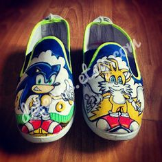 Sonic the Hedgehog  Hand Painted Pumps by DefEars on Etsy, £39.99