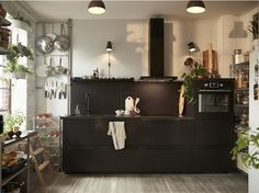 Explore sustainable kitchen layouts with IKEA KUNGSBACKA black kitchen cabinet door fronts. Kitchen Cabinets Fronts, Modern Kitchen Cabinets, Ikea Kitchen, Kitchen Decor, Kitchen Design, Kitchen Ideas, Kitchen Inspiration, Kitchen Appliances, Kitchen Faucets