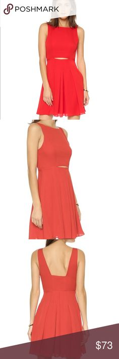 Rebecca Minkoff Francis Pleated Dress Rebecca Minkoff Francis Pleated Dress in silk chiffon in beautiful bright red color. Cut out front, pleaded, fully lined. Concealed hook and zip fastening at side. 100% silk. Dryclean. Fits true to size. Model is wearing a size 2. Worn once and no signs of wear at all. Rebecca Minkoff Dresses Midi