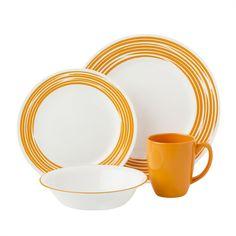 Corelle® Boutique™ Brushed 16-pc Dinnerware Set, Orange - Corelle