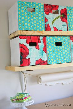 Craft Room, Part 1 (covered cardboard storage boxes) | Make It and Love It - How to make them