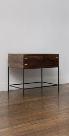 Myers End Table   Black Walnut And Steel   Modern