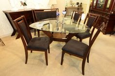 Najarian Gallia Triangle Dining Table with 4 Chairs and Bench - Colleen's Classic Consignment, Las Vegas, NV www.colleenconsign.com