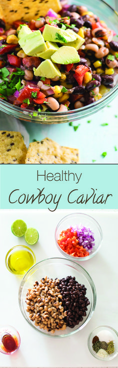 Healthy Cowboy Caviar ~ Topped with avocado, this is a colorful, fresh, low-carb appetizer, snack or summer picnic dip!