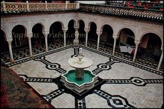 Patio principal de la casa de Pilatos Patio Central, Spanish Garden, Andalucia, Travel Abroad, Time Travel, Landscape Design, Wander, Fountain, Places To Go