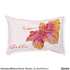 Pink Dog Beds, Personalized Dog Beds, Outdoor Dog Bed, Dog Beds For Small Dogs, Indoor Flowers, Hibiscus Flowers, Small Breed, Pet Gifts, Colorful Backgrounds