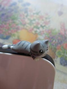 Cute Gray Little Cat laying Dust Plug  IPhone & by Kappuruu, $5.00