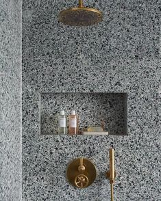 Lovely use of continuity Brooklyn shower set in Tarnished Brass are featured in a dramatic terrazzo shower by London Interior Designer: Heirloom Studio Bathroom Trends, Bathroom Interior, Modern Bathroom, Bathroom Ideas, Bathroom Goals, Small Bathroom, Decor Interior Design, Interior Decorating, Interior Colors
