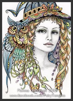 Original ACEO Art Sketch Card Witch & Owl Halloween Witches OWLS Fairy by Norma Burnell